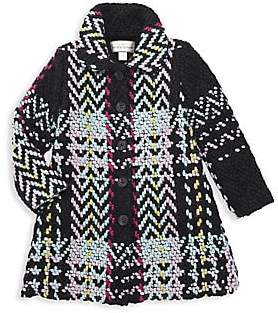 Widgeon Little Girl's & Girl's Embroidered Plaid & Faux Fur A-Line Coat