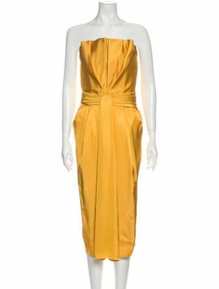 Brandon Maxwell Strapless Knee-Length Dress w/ Tags Yellow