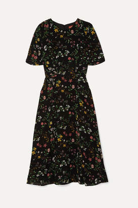 Altuzarra Sylvia Floral-print Silk Crepe De Chine Midi Dress - Black