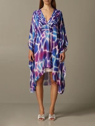 Just Cavalli Dress Kaftan Dress In Printed Chiffon
