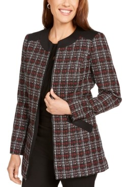 Kasper Plaid Zipper-Front Jacket