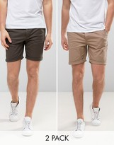 Asos 2 Pack Slim Chino Shorts In Khaki And Stone