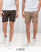 Asos 2 Pack Slim Chino Shorts In Khaki & Stone Save