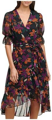 Calvin Klein Print Faux Wrap Hi-Low Dress (Coffee Combo) Women's Clothing