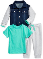 First Impressions 3-Pc. Denim Jacket, T-Shirt & Jogger Pants Set, Baby Boys (0-24 months), Only at Macy's