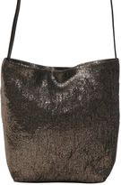Ann Demeulemeester Shiny Linen Blend & Leather Shoulder Bag
