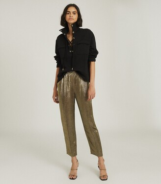 Reiss Camille - Shimmer Tapered Trousers in Gold