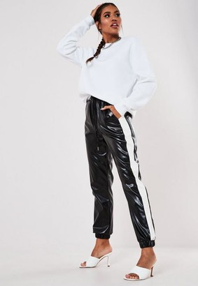 Missguided Black Faux Leather Contrast Stripe Joggers