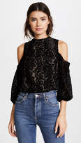 Alice + Olivia Hallie Cold Shoulder Velvet Blouse