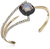 Alexis Bittar Crystal Encrusted Abstract Petal with Custom Cut Cushion Cuff Bracelet