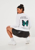 Missguided White Anti Social Butterfly Graphic Long Sleeve T Shirt