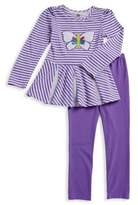 Kids Headquarters Little Girl's Two-Piece Embroidered Butterfly Top and Leggings Set
