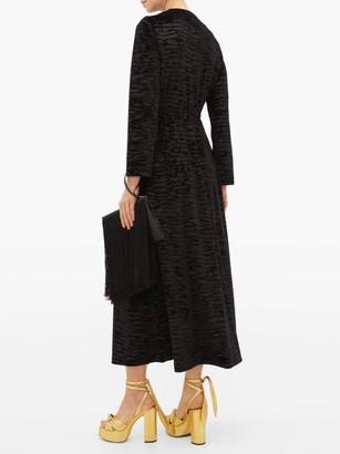 Loretta Caponi Betty Ruffled Devore-velvet Midi Dress - Black Gold