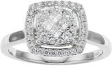 10k White Gold 1/2 Carat T.W. Diamond Square Halo Ring