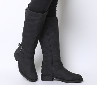 Office Kamel Biker Knee Boots Black Fur Lined