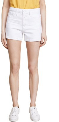 Paige Women's High Rise Sarah Shorts w/Exposed Button Fly + Raw Hem