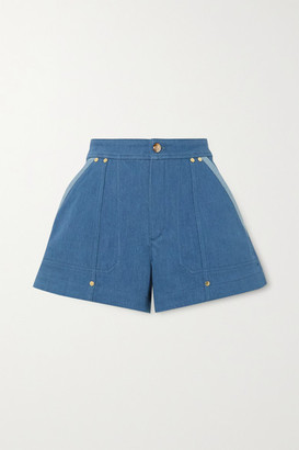 Chloé Embellished Two-tone Denim Shorts - Blue