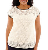 JCPenney STYLUS Stylus Short-Sleeve High-Low Lace T-Shirt - Plus