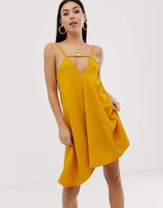 Asos Design DESIGN tab front swing mini sundress-Yellow