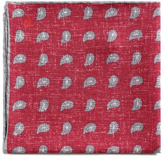 Isaia Paisley Silk Pocket Square