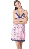 LOVE STORY LINGERIE Flower Print Nightgown Satin Chemises Slip Lace Lounge (XL, )