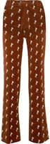 Chloé Embroidered Cotton-blend Velvet Straight-leg Pants - Brown