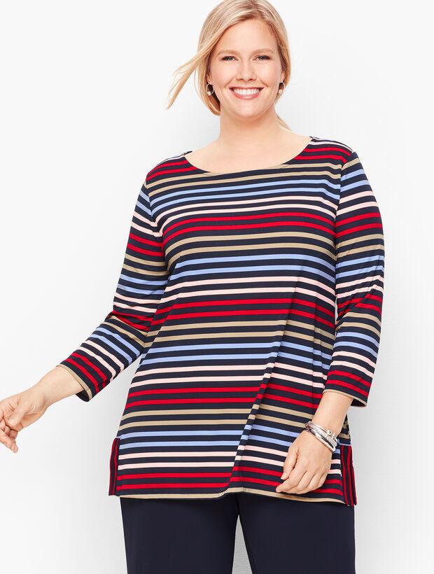 Talbots Knit Jersey Bateau Neck Tunic - Stripe