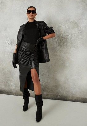 Missguided Black Faux Leather Ruched Midi Skirt