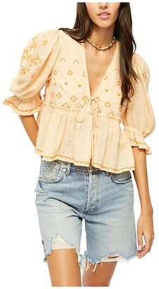 Free People Tallulah Embroidered Blouse (Peach) Women's Clothing