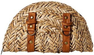 San Diego Hat Company BSB1563 Woven Seagrass Clutch with Faux Leather Straps and Buckle Details (Natural) Clutch Handbags