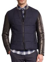 Vince Leather-Sleeve Quilted Jacket