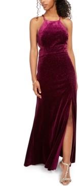Morgan & Company Juniors' Velvet Glitter Gown