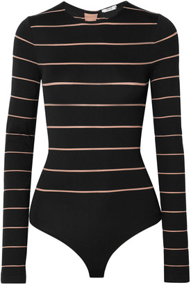 Wolford Grace Lace-up Striped Stretch-jersey Thong Bodysuit