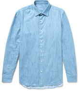 Caruso Slim-fit End-on-end Cotton-chambray Shirt - Blue