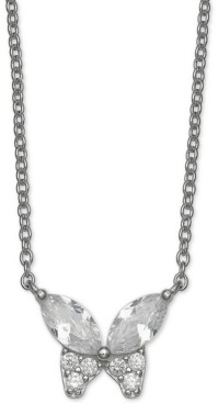 "Giani Bernini Cubic Zirconia Butterfly 18"" Pendant Necklace in Sterling Silver, Created for Macy's"