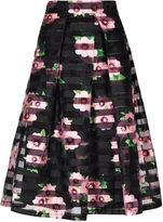 Apricot Black & Pink Stripe Peony Print Midi Skirt