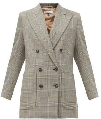 Bella Freud Bianca Double-breasted Checked Wool Jacket - Grey