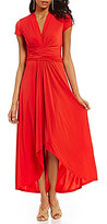MICHAEL Michael Kors Faux-Wrap Matte Jersey Hi-Low Maxi Dress