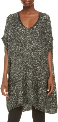 Saint Laurent Sequin Mesh Short Caftan Dress