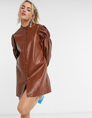 GHOSPELL oversized mini shirt dress with volume sleeves in faux leather