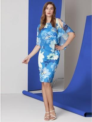 M&Co Roman Originals floral overlay chiffon dress