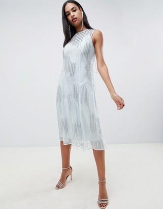 Asos Design DESIGN midi dress with delicate tassle embellishment-Blue