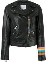 Mira Mikati rainbow cuff biker jacket