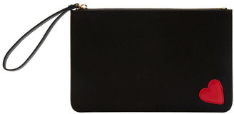 Lulu Guinness LU LU GUINNESS Black Grace Heart Zip Top Pouch