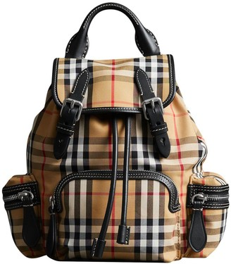 Burberry Yellow, Black And White The Small Rucksack In Vintage Check And Leather Bag
