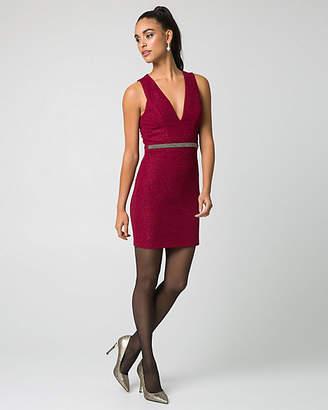 Le Château Sparkle Knit V-Neck Cocktail Dress