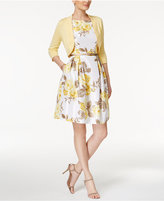 Jessica Howard Petite Floral-Print Fit & Flare Dress and Sweater Shrug