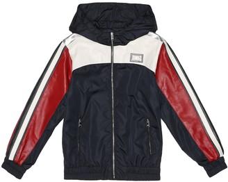 Dolce & Gabbana Kids Nylon and leather jacket