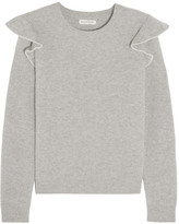 Chinti and Parker Ruffle-trimmed Ribbed Cashmere Sweater - Gray