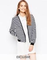 Helene Berman Navy & White Stripe Bomber Jacket